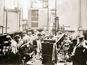 A science lab at Bootham School - perhaps similar to the one where a hapless pupil left snail shells boiling all night in 1899, and burned the school down