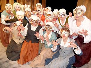 The ladies of the chorus are ready to torture Falstaff.  Picture: Wendy Binns