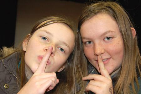 Megan Clark (left) and Jessica Robinson (right), Year 8 students from Tadcaster Grammar School, raised money for Children In Need through a sponsored silence - Photo by Wendy Binns