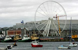 The Dublin wheel on its site at the Point Village, where it has been providing views over Dublin's docklands and the River Liffey