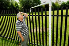 Fence built through middle of York play area's goalposts