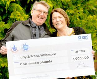 Judy and Frank Whitmore of Tockwith celebrate their £1million win in the EuroMillions Millionaire Raffle draw.