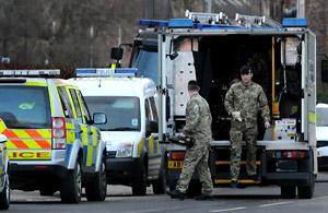 Members of the army bomb squad arrive in York after workers excavating a site in Hull Road uncovered an unexploded bomb.
