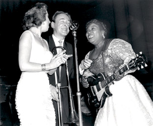 Chris Barber and Sister Rosetta Tharpe on stage at Harrogate's Royal Hall in 1958 by Terry Cryer