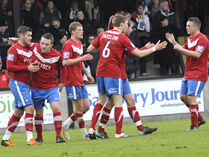 York City celebrate going 2-0 up at Salisbury City thanks to Matty Blair's second strike en route to a 6-2 victory in Saturday's FA Trophy second round tie at the Raymond McEnhill Stadium