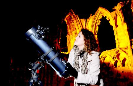 Emma Alexander, of York Astronomical Society, at the stargazing event in the Museum Gardens, which was part of the BBC's national Stargazing Live event.