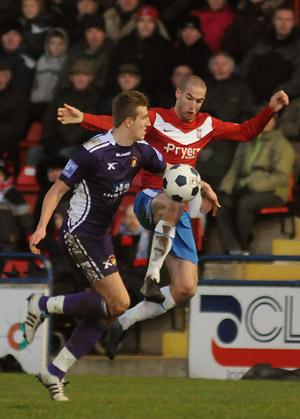 Man of the match Matty Blair puts the Ebbsfleet defence under pressure during ten-man York City's 3-2 win