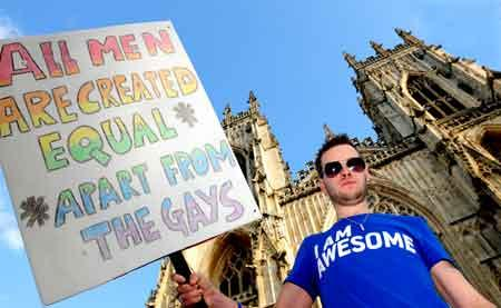 Ellis German outside York Minster during a gay rights protest against comments made by the Archbishop of York, Dr John Sentamu.
