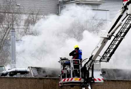 Firefighters at the University of York, where a fire broke out in the chemistry department.