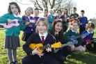 Children who took part in the ukulele workshop at Boroughbridge High School