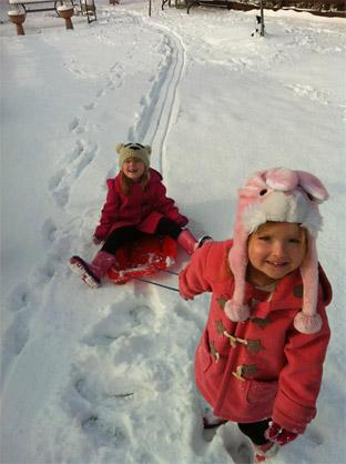 'For weeks the girls been asking for snow.. their wish came true'