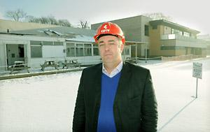 York Sports Club development manager Nick Elliot in front of the old buildings, left, and the new, far right, at Clifton Park