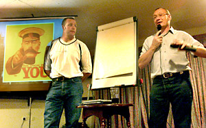 York Press: Prospective new chief executive Steve Ferres, right, and player-coach-to-be Paul Broadbent address a meeting during the race to get York re-elected to the league