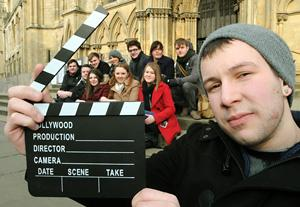Director Jamie Anderson, front, and other members of the crew who are planning to shoot a film based on Stephen King's story The Death Of Jack Hamilton