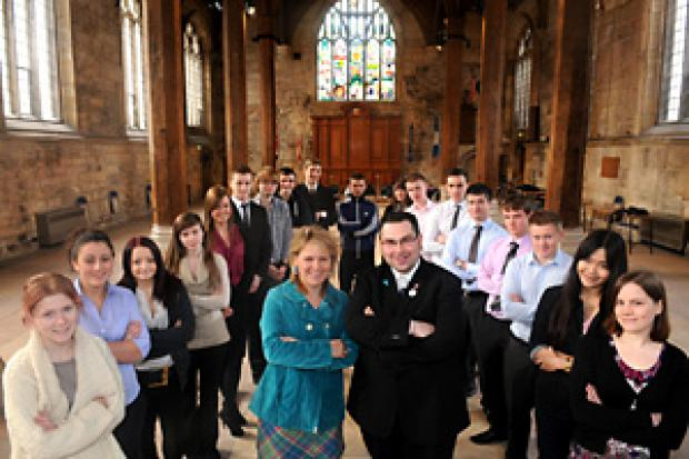 Kersten England, chief executive of City of York Council, and Coun James Alexander meet the apprentices