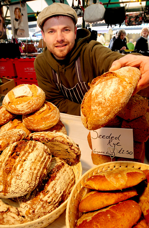 Al Kippax, of Bluebird Bakery, on his market stall