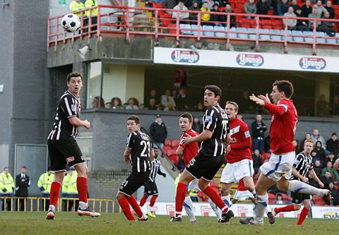 Scott Kerr's header that sealed the win at Grimsby. Picture: Gordon Clayton