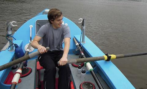 Lewis trains in Dartmouth for his marathon rowing challenge