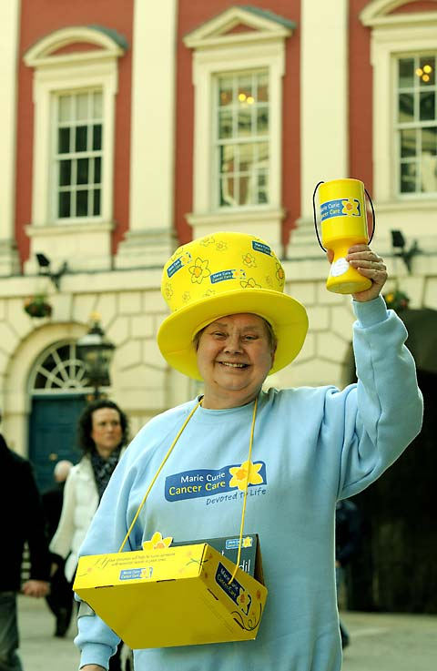 Annie Greenwood collects for Marie Curie in York