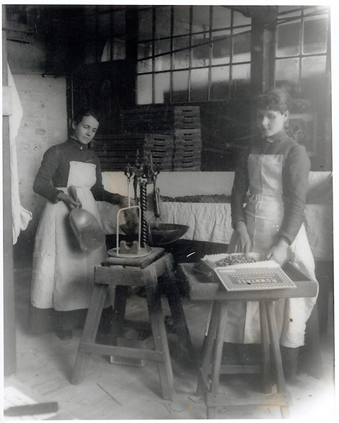 Two women workers in the Rowntree factory