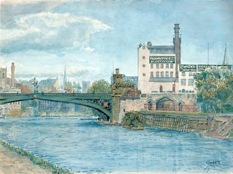 "A painting of the old factory in Tanner's Moat, which is believed to be ""previously unseen"""