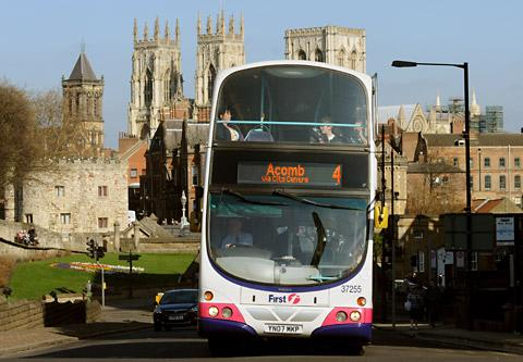 A First York number 4 double-decker bus, which has now been scrapped not long after it replaced the ftr