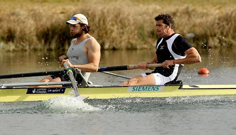 York City Rowing Club's Tom Ransley, left, and Greg Searle in the final of the men's pair during the Great Britain senior trials at Eton Dorney