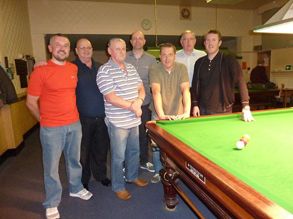 The Heworth Conservative Club's billiards team, who won the Faber Shield for the sixth consecutive year; from left: Jason Milner, Vic Gamble, Brian Birch, Gary Rogers, Mark Winskill, captain Keith Watkinson and Steve Burdett