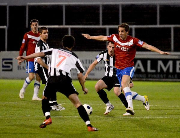 Recalled York City centre-back Chris Doig thwarts a Bath City raid in last night's 1-0 Blue Square Bet Premier victory at Twerton Park