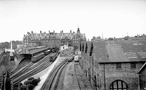 The old York Station is pictured in 1950 from the bar walls
