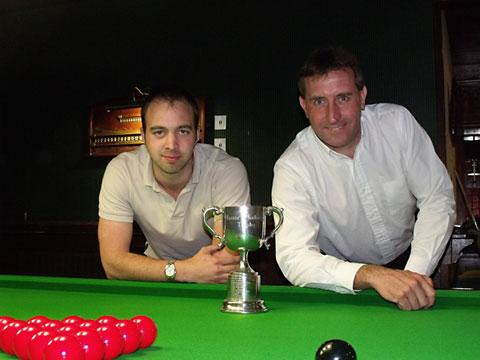 Fosters Challenge Handicap Snooker Knockout winner Tim Lister, left, and runner-up Phil Carlton