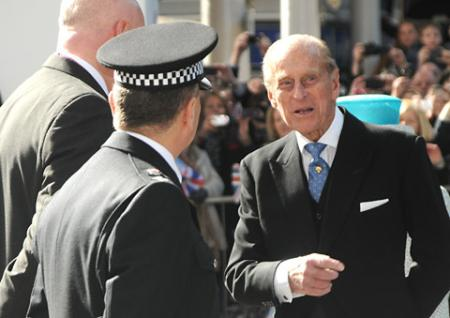 The Duke of Edinburgh arrives at York Station.
