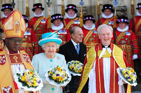 The Queen and The Duke of Edinburgh with the Archbishop and Dean of York.