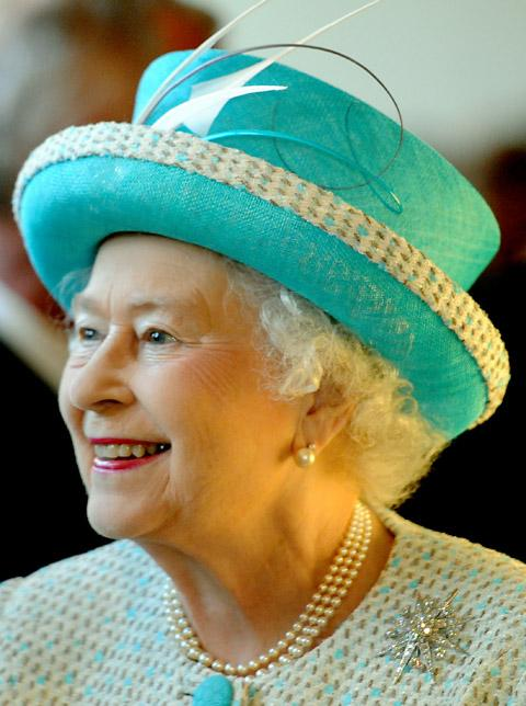 The Queen smiles during her tour of the Yorkshire Museum