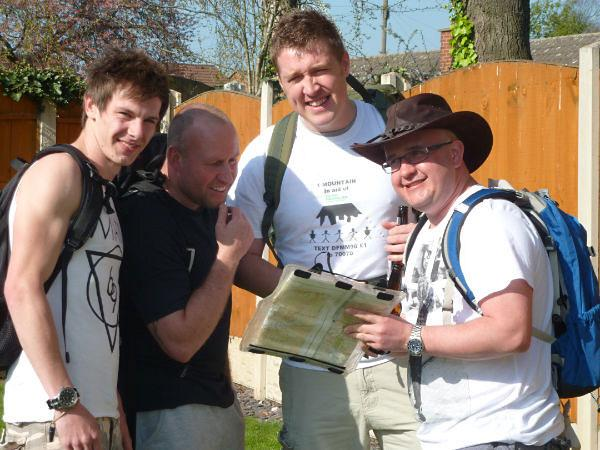 Friends Josh Davis, Lee Maddison, Dave Firth and Nick Keating get ready for their charity climb. Not  pictured Mark McKay