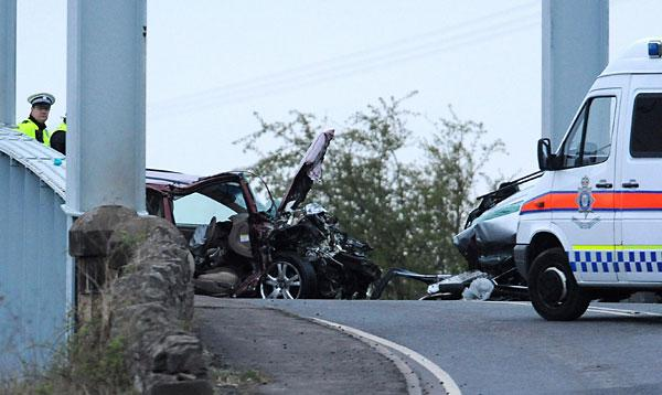 The scene of the fatal car crash on the A614, close to the village of East Cowick, near Goole, in which Sheila Stavert-Lee and Derek and Ethan Sarkar were killed
