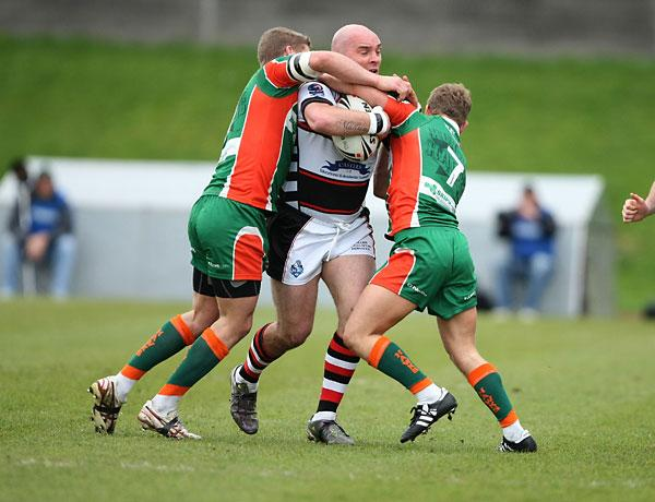 Knights prop Paul King crashes into the Hunslet defence. Picture: Gordon Clayton