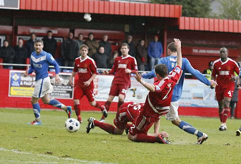 Matty Blair sweeps in York City's opener. Picture: Gordon Clayton