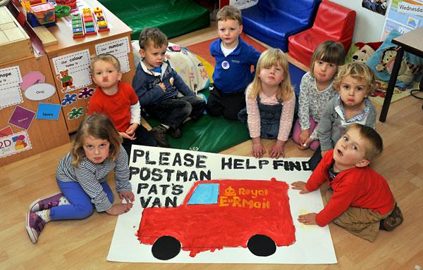 UPSET: Toddlers at Flaxton Children's Nursery with a message for the thief who stole their Postman Pat van