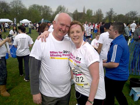 Peter Lawrence with Jen King in the Miles For Missing People run in London last year