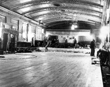 A roller-skating rink being laid in the former Grand Cinema, Clarence Street, York.
