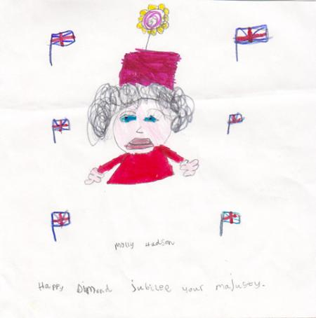 Molly Hudson, five, of Bootham, York, who attends Clifton Green School, drew this picture of the Queen