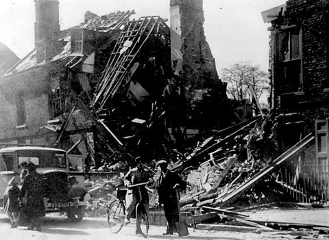 A house in Bootham is completely destroyed following the attack on York by the German Luftwaffe