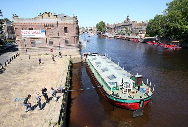 Last year's trial run of the Arts Barge Project on the River Ouse at Skeldergate