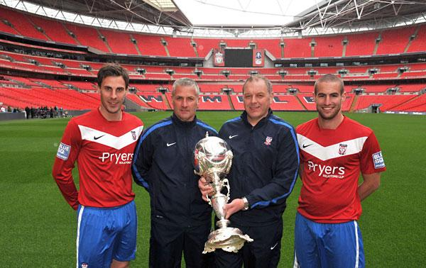 York City's advance party for the FA Trophy appearance at Wembley on May 12, from left, skipper Chris Smith, manager Gary Mills, assistant manager Darron Gee and striker Matty Blair