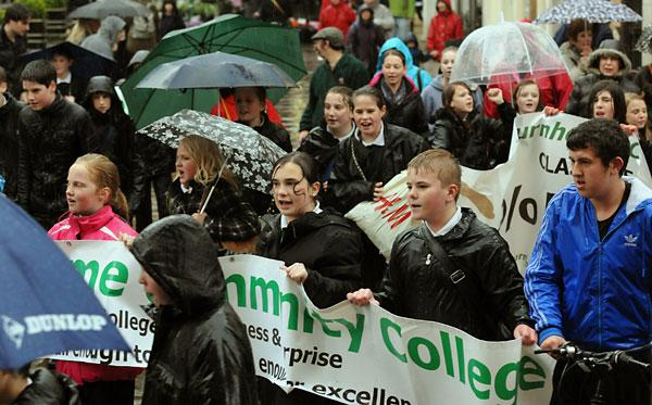 Pupils protest against the closure of Burnholme Community College