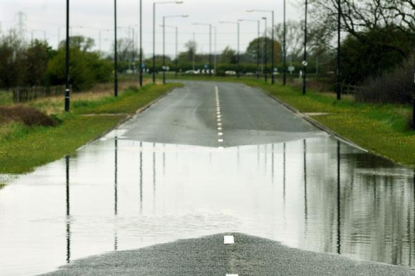Flooding on the Monks Cross link road which caused its closure