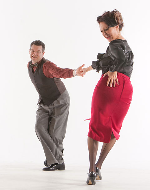 Julian and Sian Mantovani demonstrate the lindy hop