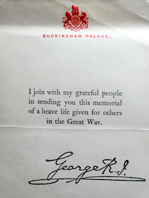 The letter from King George V to Mary Pickering