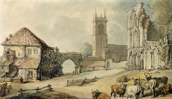 St Mary's Abbey Gateway, 1801, by Thomas Rowlandson. Reproduced courtesy York Museums Trust (York Art Gallery)